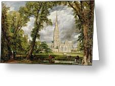 View Of Salisbury Cathedral From The Bishop's Grounds Greeting Card
