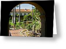 View Of Santa Barbara Mission Courtyard Greeting Card