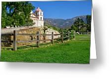 View Of Santa Barbara Mission Greeting Card
