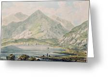 View Of Snowdon Wc On Paper Greeting Card