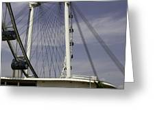 View Of Spokes Of The Singapore Flyer Along With The Base Section Greeting Card