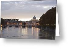 View Of St Peter's Basilica And Saint Angel Bridge Greeting Card