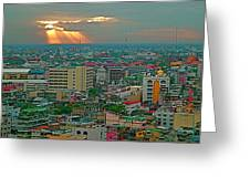 View Of Sun Setting Over Bangkok Buildings From Grand China Princess Hotel In Bangkok-thailand Greeting Card