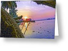 View Of Sunrise From A Houseboat Greeting Card