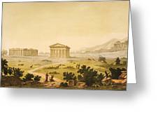 View Of Temples In Paestum At Syracuse Greeting Card by Giulio Ferrario