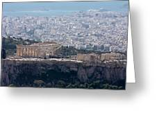 View Of The Acropolis From Lykavittos Hill Greeting Card