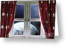 View Of The Earth Through A Window With Curtains Greeting Card
