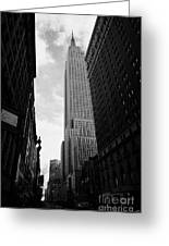 View Of The Empire State Building From West 34th Street And Broadway Junction New York City Greeting Card by Joe Fox