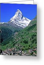 View Of The Matterhorn And The Town Greeting Card