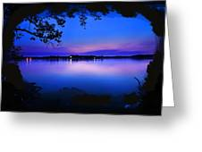 View Of The Night Lake Greeting Card