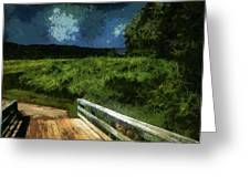 View Of The Night Sky From The Old Bridge Greeting Card