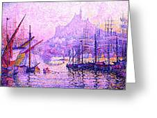 View Of The Port Of Marseilles Enhanced Color Iv Greeting Card