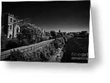 view of the river corrib looking back towards the kings gap Galway city county Galway Republic of Ireland Greeting Card