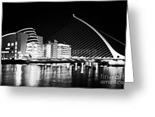 View Of The Samuel Beckett Bridge Over The River Liffey And The Convention Centre Dublin At Night Du Greeting Card by Joe Fox