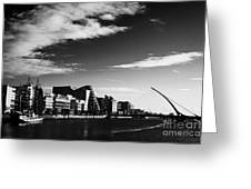 View Of The Samuel Beckett Bridge Over The River Liffey And The Convention Centre Dublin Republic Of Greeting Card