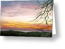 View Of The Valley At Dusk Greeting Card