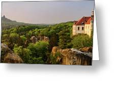 View Of Trosky Castle In A Village Greeting Card