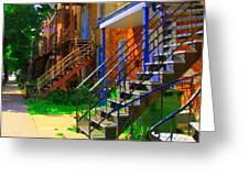 View Of Verdun Steps Stairs Staircases Winding Through Summer  Montrealstreet Scenes Carole Spandau Greeting Card