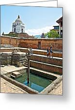View Of White Temple From Pool Area Behind Bhaktapur Durbar Square In Bhaktapur-nepal - Greeting Card