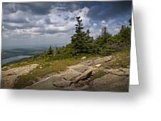 View On Top Of Cadilac Mountain In Acadia National Park Greeting Card