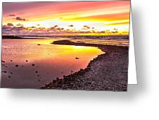 View Opposite Of Mackinac Bridge From Mcgulpin Point At Sunset. Greeting Card