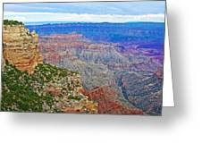 View Three From Walhalla Overlook On North Rim Of Grand Canyon-arizona  Greeting Card