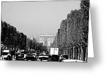 View Up The Champs Elysees Towards The Arc De Triomphe In Paris France  Greeting Card
