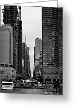 View Up West 42nd Street From The Hudson River New York City Greeting Card