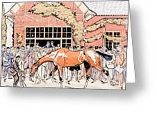 Viewing The Racehorse In The Paddock Greeting Card