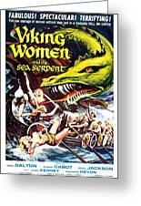 Viking Women And The Sea Serpent Poster Greeting Card by Gianfranco Weiss