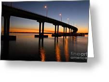 Vilano Bridge At Dusk St Augustine Florida Greeting Card