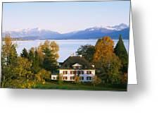 Villa At The Waterfront, Lake Zurich Greeting Card