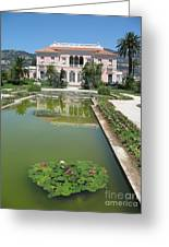 Villa Ephrussi De Rothschild With Reflection Greeting Card