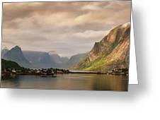 Village And Fjord Among Mountains Greeting Card