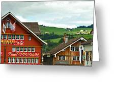 Hotel Santis And Hillside Of Appenzell Switzerland Greeting Card