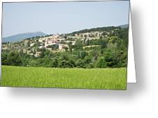 Village Beyond The Wheat Field Greeting Card