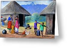 Village Chores Greeting Card