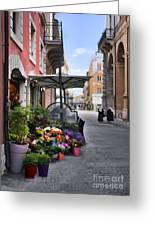 Village Flowershop Greeting Card