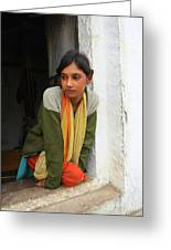 Village Girl India Greeting Card