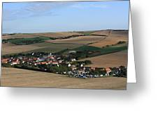 Village In A French Landscape  Greeting Card