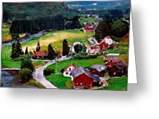 Village In The Mountains Greeting Card