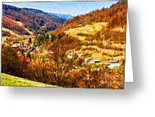 Village In The Valley Greeting Card