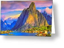 Village On The Naeroyfjord Norway Greeting Card