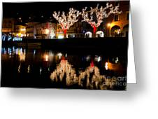 Village Reflected In The Water Greeting Card