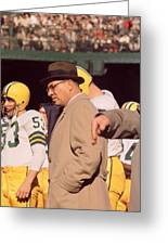 Vince Lombardi In Trench Coat Greeting Card