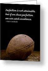 Vince Lombardi On Perfection Greeting Card