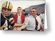 Vince Lombardi Shaking Hands Greeting Card by Retro Images Archive