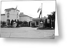 Vineyard Creek Hyatt Hotel Santa Rosa California 5d25787 Bw Greeting Card