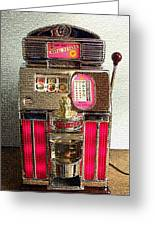 Vintage 10 Cent Slot Machine Greeting Card