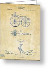 Vintage 1866 Velocipede Bicycle Patent Artwork Greeting Card